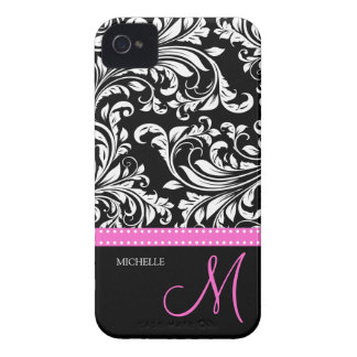 Elegant Black & White Damask Pattern with Monogram iPhone 4 Case-Mate Case