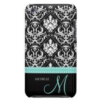 Elegant Black & White Damask Pattern with Monogram iPod Touch Case-Mate Case