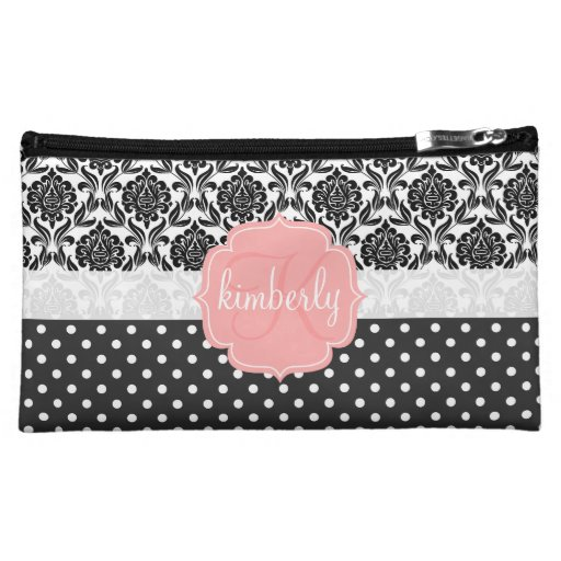 Elegant Black & White Damask Pink Girly Monogram Makeup Bags