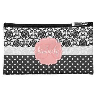 Elegant Black & White Damask Pink Girly Monogram Cosmetic Bag