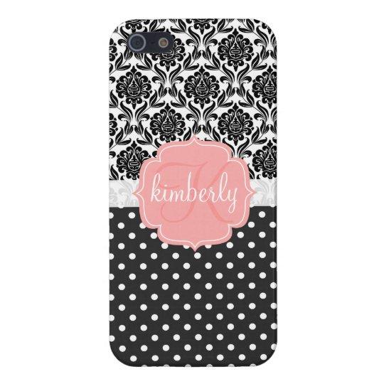 Elegant Black & White Damask Pink Girly Monogram Cover For iPhone SE/5/5s
