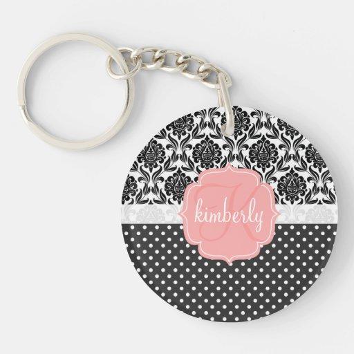 Elegant Black & White Damask Pink Girly Monogram Single-Sided Round Acrylic Keychain