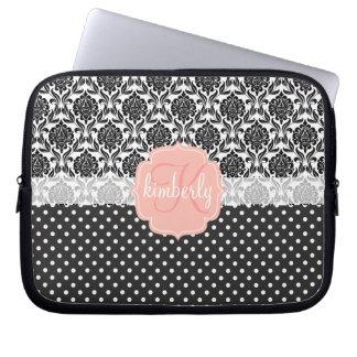 Elegant Black & White Damask Pink Girly Monogram Computer Sleeve