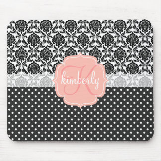 Elegant Black & White Damask Pink Girly Monogram Mouse Pad
