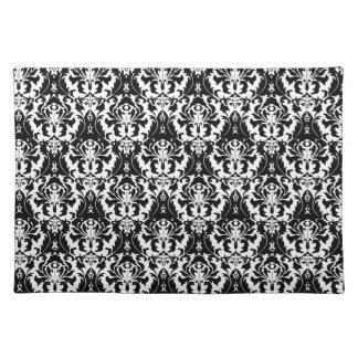 elegant black white damask placemats. Black Bedroom Furniture Sets. Home Design Ideas