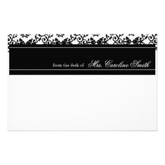 Elegant Black & White Damask Print Personalized Stationery
