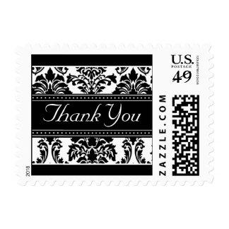 Elegant Black & White Damask Ribbon Thank You Postage Stamps