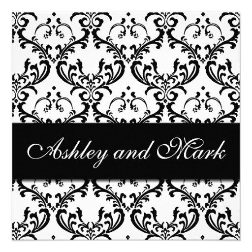Elegant Black White Damask Wedding Invitation