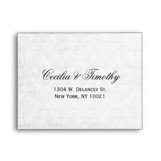 Elegant Black & White Damask Wedding RSVP Linen A2 Envelope