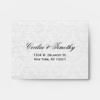 Elegant Black & White Damask Wedding RSVP Linen A2 Envelopes