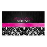 Elegant Black & White Damask with Hot Pink Ribbon Business Card Templates