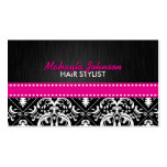 Elegant Black & White Damask with Hot Pink Ribbon Business Card Template