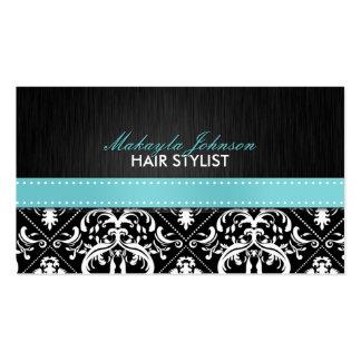 Elegant Black & White Damask with Teal Blue Ribbon Business Card