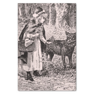 "elegant Black White Drawing Red Riding Hood Wolf 10"" X 15"" Tissue Paper"
