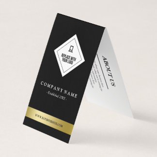 Elegant Black White & Faux Gold Your Logo Hang Tag