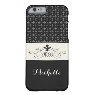 Elegant Black White Fleur de Lis Barely There iPhone 6 Case