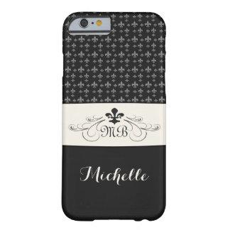 Elegant Black White Fleur de Lis Barely There iPhone 6 Case
