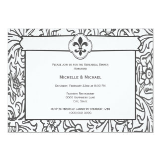 Elegant Black White Fleur de Lis Event Invitations