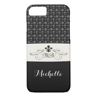 Elegant Black White Fleur de Lis iPhone 7 Case