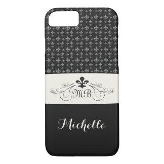 Elegant Black White Fleur de Lis iPhone 8/7 Case