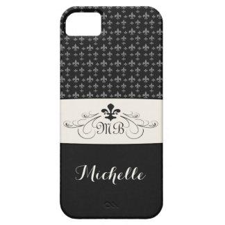 Elegant Black White Fleur de Lis iPhone SE/5/5s Case