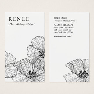 Elegant Black White Floral Beauty Salon Stylist Business Card