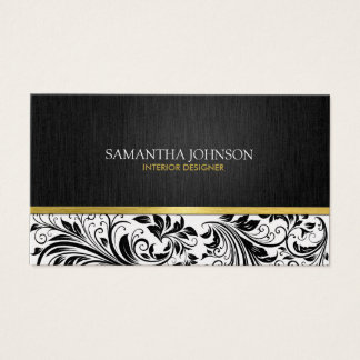 Elegant  Black & White Floral Damask w/ Gold Business Card