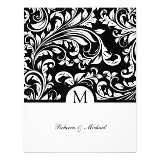 Elegant Black & White Floral Damask w/ Monogram Custom Announcements