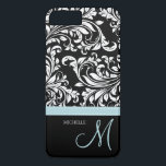 "Elegant black &amp; white floral damask with monogram iPhone 8 plus/7 plus case<br><div class=""desc"">Beautiful and elegant black and white floral damask pattern with teal blue monogram. Add your name. Custom iPhone 6 plus case.</div>"