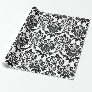 Elegant Black & White Floral Damasks Pattern Wrapping Paper