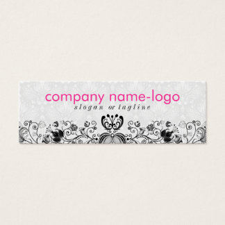 Elegant Black & White Floral Damasks & Swirls 2 Mini Business Card