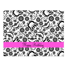 Elegant black white floral  Postcard