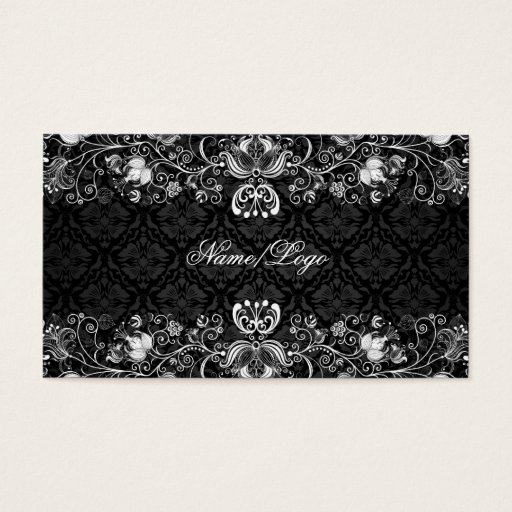 Elegant Black & White Floral Swirls Business Card
