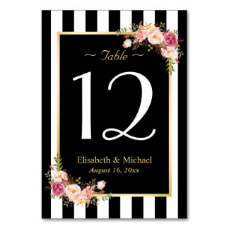 Elegant Black White Floral Wedding Table Number