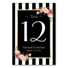 Elegant Black White Floral Wedding Table Number Card at Zazzle