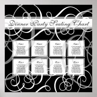 Elegant Black White Formal Wedding Seating Chart Print