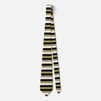 Elegant Black White Gold Brown Stripes Pattern Tie
