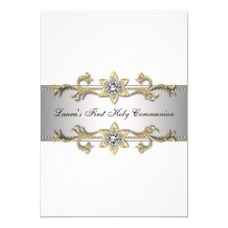 Elegant Black White Gold Girls First Communion Card