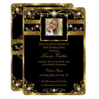 Elegant Black White Gold Pearl Photo Birthday 2 Card