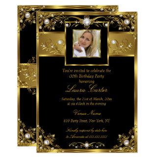 Elegant Black White Gold Pearl Photo Birthday Card