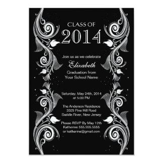 Elegant Black White Graduation Party Invitation