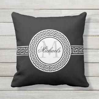 Elegant Black   White Greek Key Monogram Throw Pillow