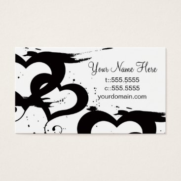 Professional Business Elegant Black& White Hearts Business Cards