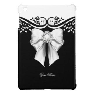 Elegant Black White Jewel Bow Image Floral Case For The iPad Mini