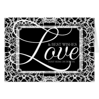 Elegant Black White Lace LOVE Note Card