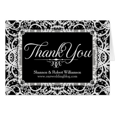Elegant Black White Lace Thank You Card
