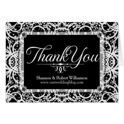 Elegant Black White Lace Thank You Card