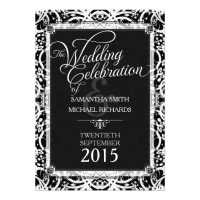 Elegant Black White Lace Wedding Invitations