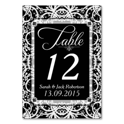 Elegant Black White Lace Wedding Table Number Card Table Cards