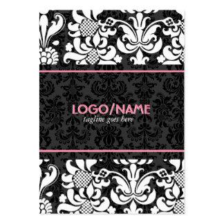 Elegant Black & White Look Vintage Floral Damasks Large Business Cards (Pack Of 100)